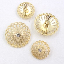 10pcs/Lot,Metal hollow diamond inlaid gold buttons garment accessories DIY materials 169121