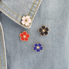 5pcs/set Cartoon Cherry Blossoms Flower Brooch Enamel Pins Button Clothes Jacket Bag Pin Badge Fashion Jewelry Gift for girls(China)