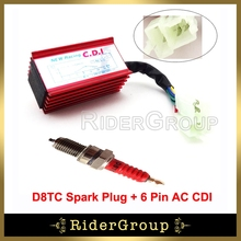 ATV Quad Aluminum 6 Pin AC Ignition CDI Box D8TC Spark Plug For CG 125cc 150cc 200cc 250cc Engine Pit Dirt Motor Bike