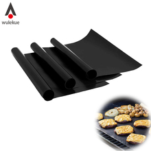 Wulekue M L Two Size PTFE /TEFLON Reusable Nonstick BBQ Grill Mat Heat Resistant Pad Sheet Cooking Tool BBQ Accessories