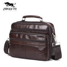 CROSS OX New Arrival Genuine Leather Mens Handbag Vintage Satchels Bag Should Bag Oil Wax Cow Leather Flap Bag SL420M(China)