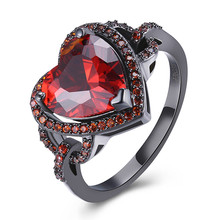 2017 Fashion Black Gun Plated Rings Black Gold Water Drop Red/Green Crystal Zircon Big Heart Shape Rings For Women Party Gift(China)