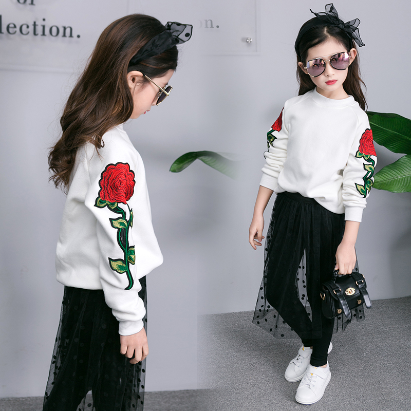 new spring  Embroidered rose jacket + lace pants skirt<br>