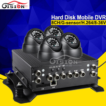 500GB H.264 8CH Hdd Hard Disk Mobile Dvr Kits PAL/NTSC Linux System Operation G-senor I/O Car Dvr With 4 Camera(China)