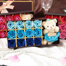 Gift for lover ! Rose Petal Cute Doll Birthday gift Valentine's Day Wedding Gift Box Flower Soap(China)
