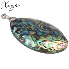 XINYAO Vintage Silver Color Abalone Shell Pendants Charms 60*39mm Natural Mother of Pearl Shell Pendants For Jewelry Making(China)