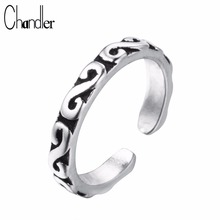 Chandler 100% Pure 925 Sterling Silver Old Totem Rings For Women Slimming Midi Finger Toe Anillos Anel Thailand Silver Jewelry