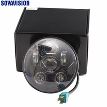 "Black 5.75"" HID LED Headlight H4 High Low Beam 5 3/4"" Front Driving Head Lights Headlamp For Harley Davidson Moto Sportster 833"