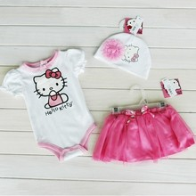 Retail summer Baby girl's hello kitty short sleeved rompers + tutu skirt + hat 3pcs sets kids girls cartoon clothing suits