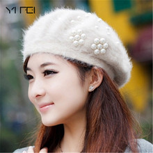 YIFEI 2017 new brand winter Christmas warm hats & caps for women beret rabbit hair casual caps fashion All-match Stewardess hats(China)