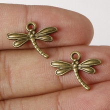 Fashion Sales 14*18mm 14pcs/lot Zinc Alloy Charms Antique Bronze Plated Dragonfly Charm Pendants Metal Jewelry Findings for DIY
