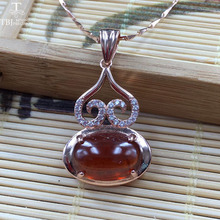 TBJ, gourd design pendant with fenda olorspessartine Garnet gemstone in 925 sterling silver rose color,a special gift for women(China)