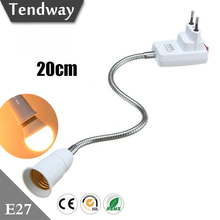 E27 Flexible Extender Bulb Holder Socket for LED Light Edison Bulb Adapter Converter EU Plug with Switch Bulb Base Accessorie