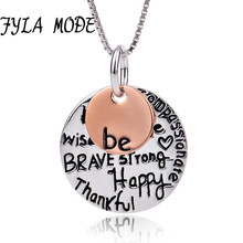 """ Wish Brave Strong Brave Happy Thank You""Lettering Charm Necklace 100% Sterling Silver Pendant Ball Chain Gift for Women Girls(China)"