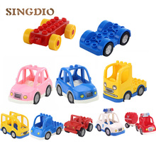 10pcs/lot SINGDIO Car Truck Bus Building Blocks for Duplo Self-locking Bricks Play House Toys educational toys for Children(China)