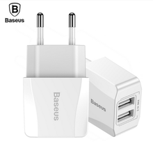 Baseus Mini Dual USB Charger iPhone iPad Adapter EU Plug Travel Wall Charger Phone Plug Samsung Xiaomi Phone Charger