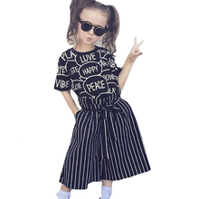 Summer Europe Girls Clothing Set 3pcs 2017 Brand Letter T-shirts+Stripe Pants+Belt Toddler Girl Clothes Kids Baby Clothing Sets(China)