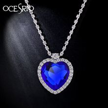 Luxury Titanic Heart of The Ocean Necklace Blue Stone Pendant Necklaces & Pendants Heart Necklaces for Women Jewelry nke-h25