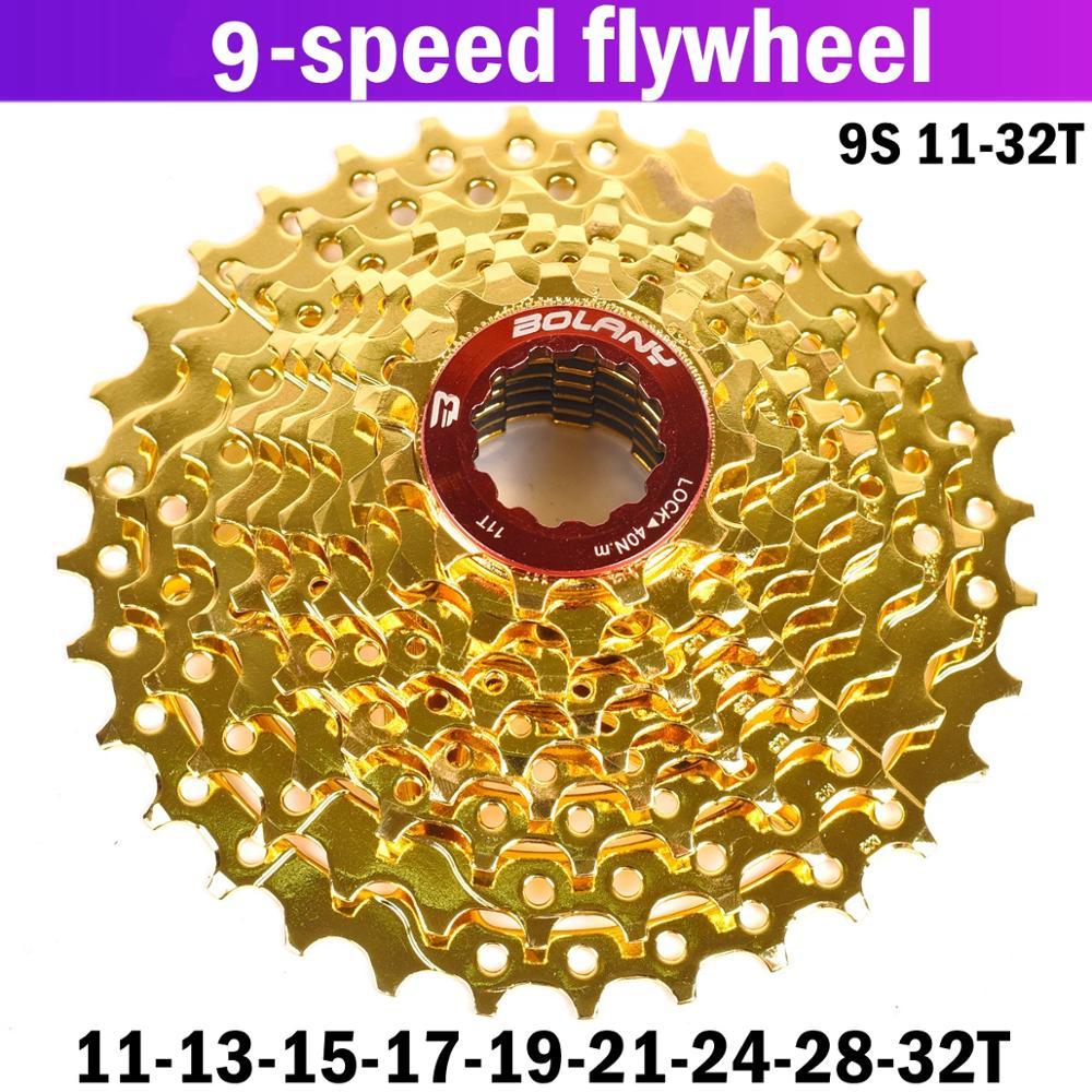 BOLANY Bike Gold cassette 9 speed 11-46T MTB Mountain Bike Wide Ratio Freewheel
