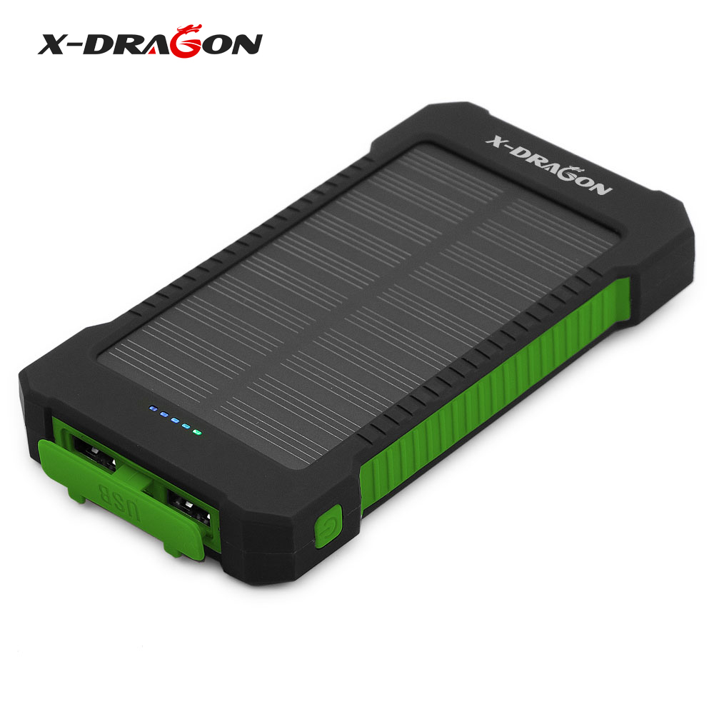 X-DRAGON Solar Battery Charger Solar Power Bank 10000mAh for Mobile iPhone iPad Air mini iPod Samsung other 5V USB devices(China)