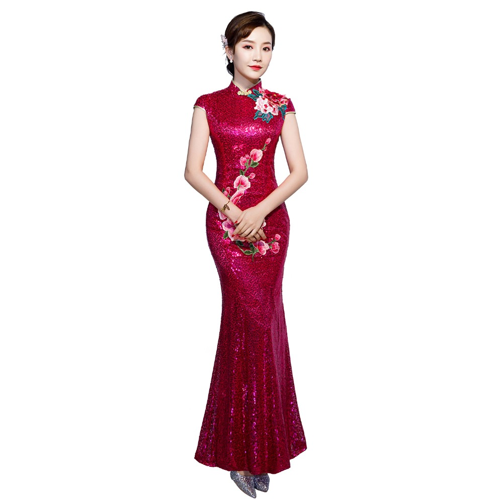 Shanghai Story chinese traditional dress Floral Sequins mermaid Qipao Short Sleeve Long cheongsam dress Oriental Dress