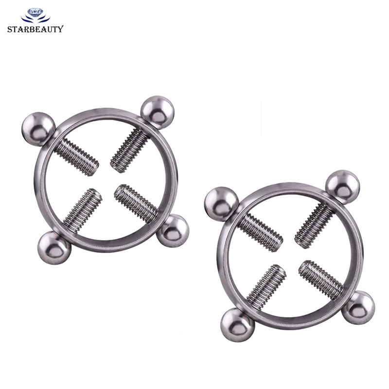 1Pair Titanium Round Non-Piercing Nipple Ring Shield body piercing jewelry Nickel-free Fake Piercing 316L surgical steel