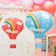 1 pcs/lot  12'' Rainbow Hot Air Balloon Paper Lantern Birthday Party Wedding Decor Colour
