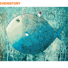 CHENISTORY Blue Fish DIY Digital Painting By Numbers With Abstract Home Decor 40x50 Kits Coloring Paint By Numbers For Kids Gift(China)