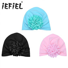 5 Colors Princess Newborn Baby Girl Sun Hat Cotton Baby Bonnet Enfant Sleep Cap for 1-3 Years Pink/White/Black with Big Flower