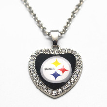 Hot Sale 1pcs Heart Crystal Pittsburgh Steelers Glass Pendant Necklace 20 Inch Chains Necklace For Women Sports Necklace Jewelry(China)