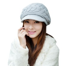 Women's Autumn Winter Cotton Knitted Cap Knitted Hat Double Layer hats for women 6 Candy Colors 34