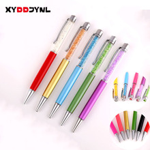 2PC Crystal Metal Ballpoint Pen 10 Colors 0.7 Kawaii Stationery Ball Pens Business Promotion Gift Office School Writing Supplies(China)