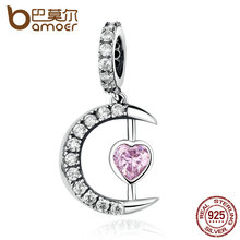 BAMOER 100% 925 Sterling Silver Pink Moon Heart Pendants Charms fit DIY Beads & Jewelry Makings Accessories SCC040(China)