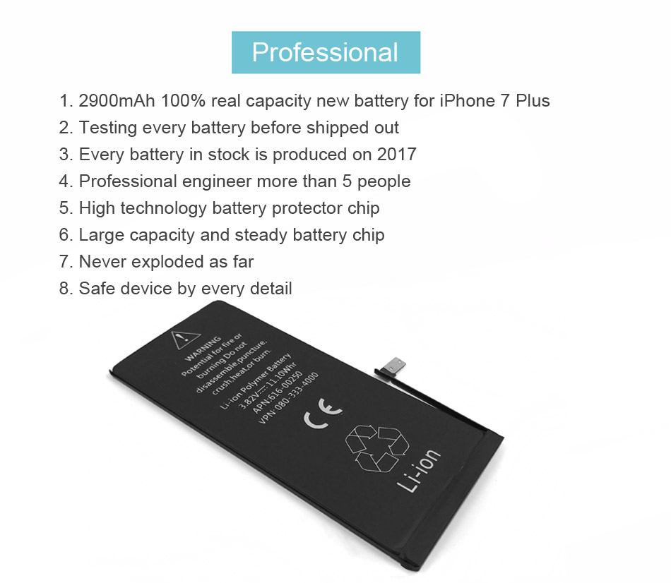 100% IST Original Mobile Phone Battery For iPhone 7 Plus Batteries Capacity 2900mAh With Repair Tools Kit And Battery Sticker (9)