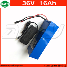 Electric Bicycle Battery 36v 16Ah 800w PVC Case with 42v 2A Charger Built in 30A BMS Lithium ion Battery 36v Free Shipping