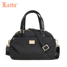 Laifu Brand Design Nylon Bags Women Soft Handbags Concealed Pocket Waterproof Fashion Canvas Tote Shoulder Black Purple(China)