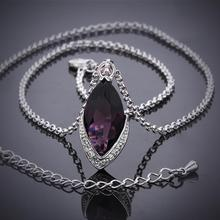 Women's Crystal Purple Zircon Pendant Necklace Chain Fashion Fine Jewelry Wholesale Gifts Collection For Women