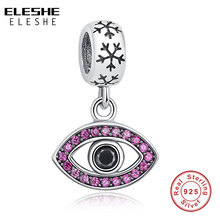 ELESHE DIY Jewelry 925 Sterling Silver Evil Eye Bead Crystal Charm fit Pandora Bracelet Necklaces DIY Original Accessories