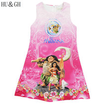 Moana girls dress summer 2017 small beauty new Cartoon Party Cosplay Fancy Princess Dresses Children's Clothing  ensemble fille