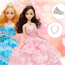Retail, factory outlets,Wedding dress fashion Princess dolls, wedding suits, girls toys, birthday gifts 12 joint dolls(China)