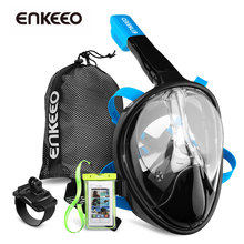 Enkeeo Diving Mask Underwater Scuba Anti Fog Full Face Diving Mask Snorkeling Set with Anti-skid Ring Snorkel 2017 New Arrival(China)