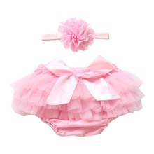 Baby Girl Ruffle Shorts Diaper Cover Bloomers Baby Girls Bloomer with Headband Cotton Newborn Baby Bloomers Chiffon Pants Set(China)