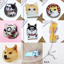 1 PCS Cartoon Animals Husky Pins Icons Badges on Backpack Stripe Decoration Brooch Cats Badge for Clothes @Y