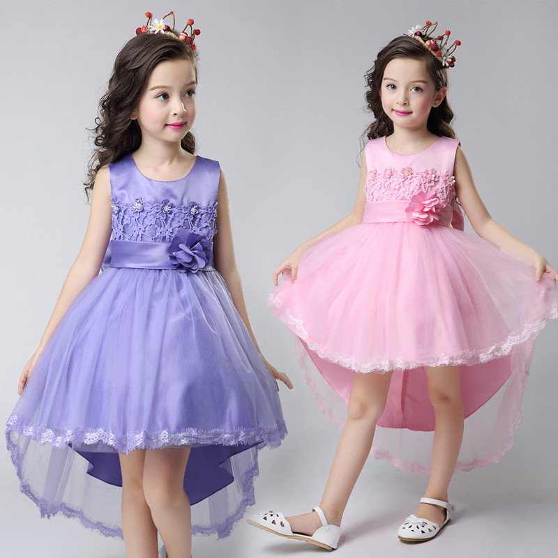 European Style Summer Trailing Dress for Girls Costumes Sleeveless 3D Floral Children Princess Dress 12 Years Kids Clothing<br>