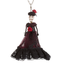 12 Styles Bride and groom Queen Halloween Skull doll Necklace wedding Dress design Trendy Long Chain Necklace Fashion Jewelry(China)