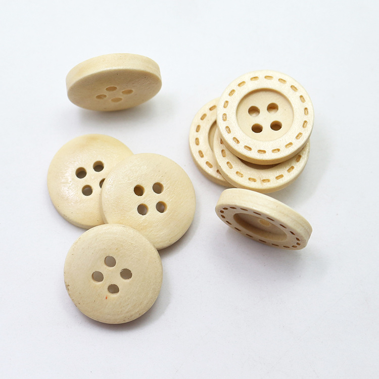 100-pz-Professionale-marcatura-laser-legno-naturale-occhi-rotondi-di-quattro-figli-bordata-deluse-bottoni-della
