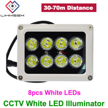 Lihmsek Factory Price CCTV 8pcs White LEDs Illuminator IR Infrared Night Vision Light Lamp For CCTV Camera White Color(China)