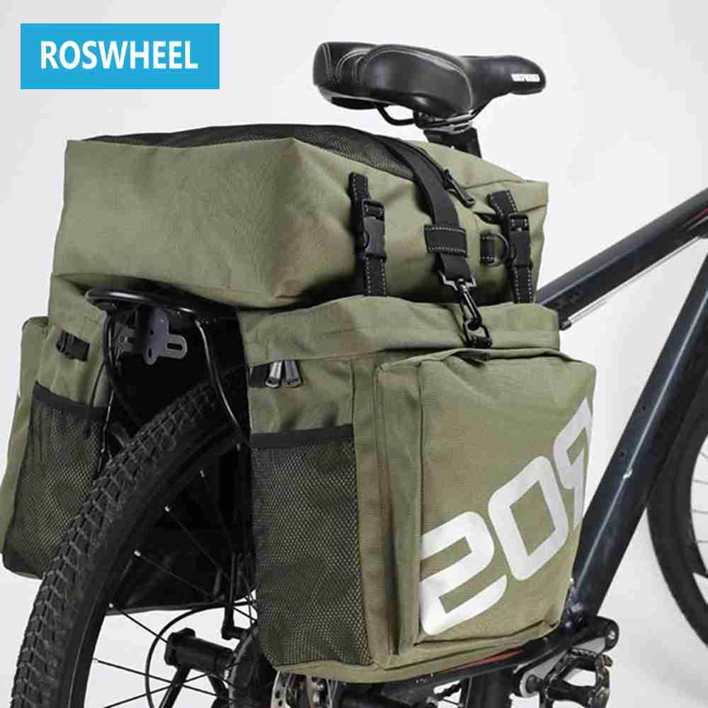 ROSWHEEL Bike Bags 37L MTB Mountain Bike Rack Bag 3 in 1 Multifunction Road Bicycle Pannier Rear Seat Trunk Bag<br>