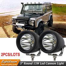 "2pcs/lot Free shipping 3inch Round Spot flood led cannon light 3"" 15w led work lamp used for boat truck car suv atv led light(China)"