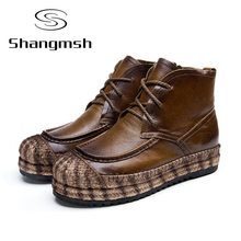 Shangmsh Fashion Handmade Boots For Women Winter Women Boots Suede Leather  Ankle Boots Woman Shoes Allmatch Casual Flat Shoes